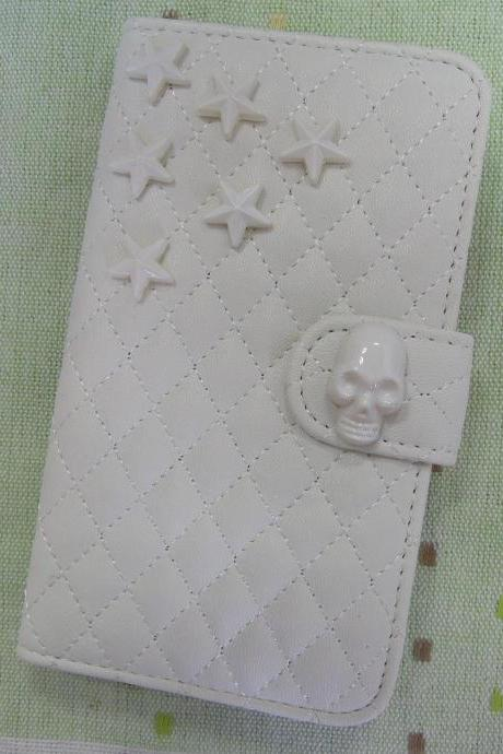 Samsung Galaxy S5 Wallet Case-Skull/Star studded White Samsung Galaxy S5 Wallet Case-Credit Card Holder