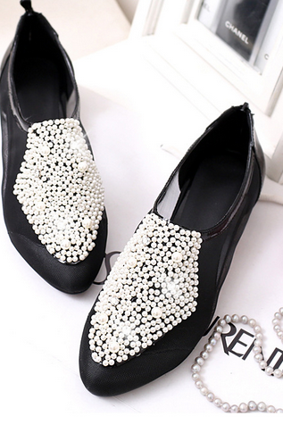 Pearl Beading Sheer Flats with Back Zipper
