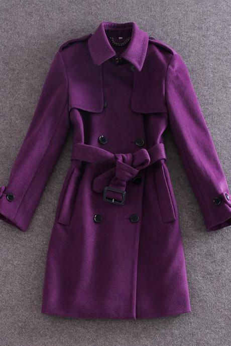 Slim long sleeve double-breasted wool coat jacket BH1127H