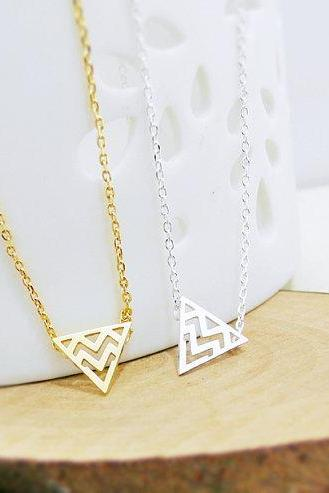 Tribal Triangle Necklace, Chevron Triangle Necklace, Geometric Necklace