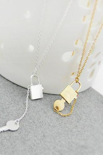 Love Lock Necklace, Key Lock Necklace, Couple Jewelry