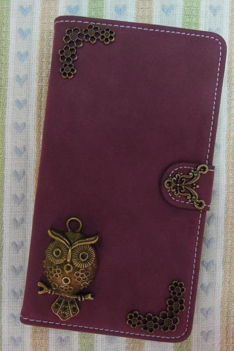 iPhone 6 Wallet Case/iPhone 6 Plus Wallet Case-OWL//Plants Studded Burgundy iPhone 6/6 Plus Wallet Case-Credit Card Case