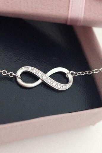 Simple infinity bracelet, Choose your color - Gold/ White gold