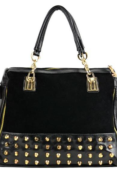 Studded PU Leather Bag Women Bags Shoulder Bag Tote Handbag Punk Grunge Harajuku Kpop Style- Black