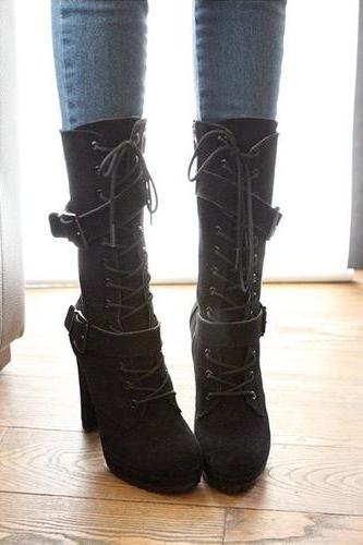 Sexy Buckle Design Black Lace up High Heels Winter Boots
