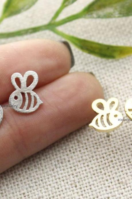 Honeybee Stud Earrings - Gold, Silver, Rose Gold
