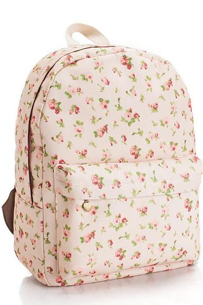Floral Printed Pink Canvas Backpack 0627005