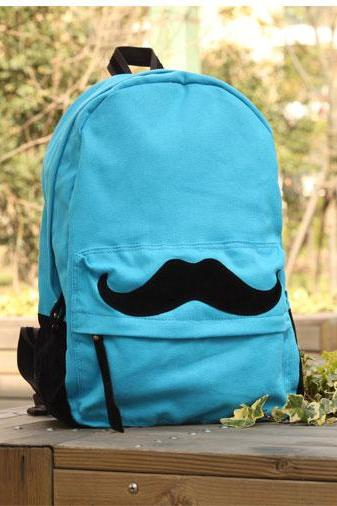 Cute Mustache Fresh Canvas Schoolbag