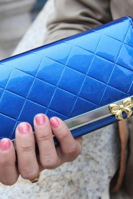 Women PU Leather Quilted Bow Solid Fashion Practical Long Purse Wallet Handbag Card Bag