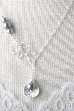 Bridesmaid necklace - silver calla lily necklace and grey pearls - grey wedding jewelry - bride necklace - Made of honor - Junior bridesmaid -grey