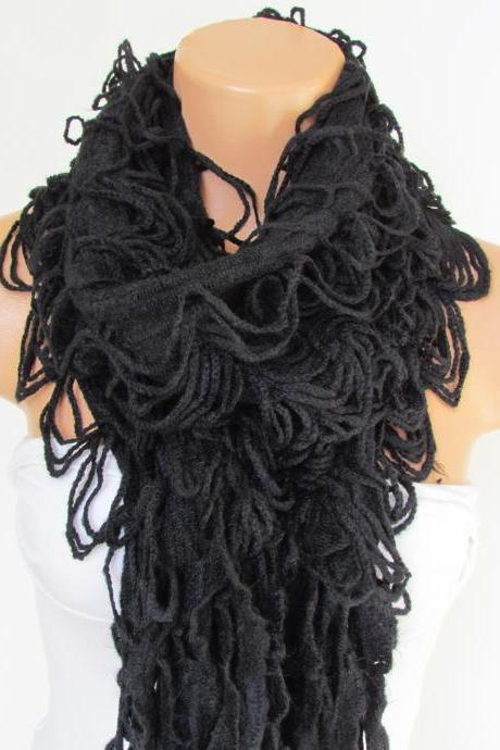 Knitted Long Scarf , Black Scarf, Neck Warmer, Winter Accessories, Fall Fashion, Holiday Accossories,Gift For Valentines