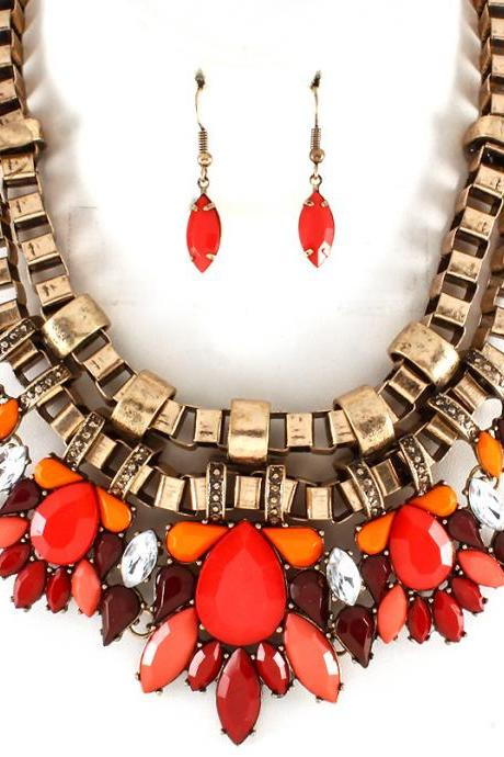 Luxury Fashion Red Chunky Bib Statement Necklaces, Colorful Chokers, Formica