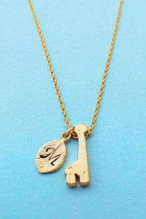 Cute, Giraffe, Necklace, Giraffe, Initial, Necklace