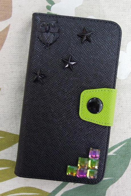 iPhone 6 Wallet Case/iPhone 6 Plus Wallet Case-Black OWLl / Star/ Stone Studded Black iPhone 6/6 Plus Wallet Case-Credit Card Case