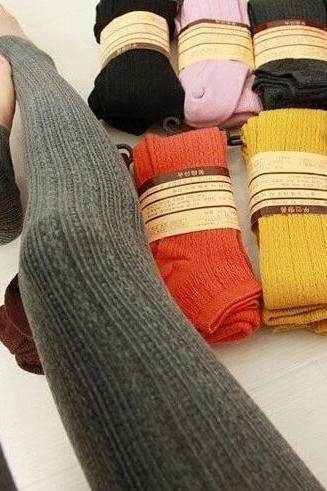 Winter Warm Cotton Knit Thick Stretchy Stirrup Leggings
