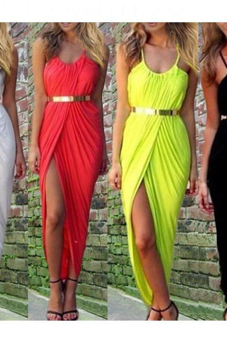 2016 Sexy look Women Ladies Ruched Front Split Slit Maxi Party Dress Cocktail