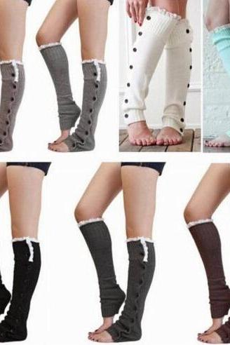 Women's Crochet Knit With Button Leg Warmers Lace Trim Toppers Boot Socks Cuffs