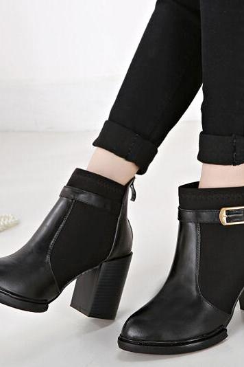 Short Boots Pointed Toe Color Block Chunky Heel Black Casual Boots