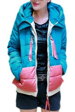 Women Winter Warm Hooded Hoodie Down Jacket Short THICK Padded Quilted Coat