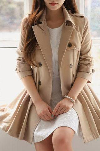 Stylish Double Breasted Winter Coat In Khaki