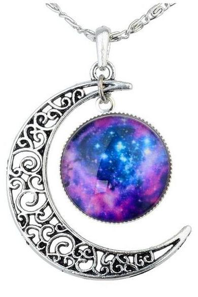 Blue Purple Women's Crescent Moon Galactic Universe Cabochon Pendant Necklace Christmas Gift