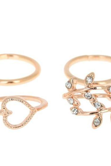 4pcs/set Urban Stack Plain Cute Above Knuckle Ring Band Midi Ring