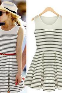 Dress With Black And White Stripe Dress