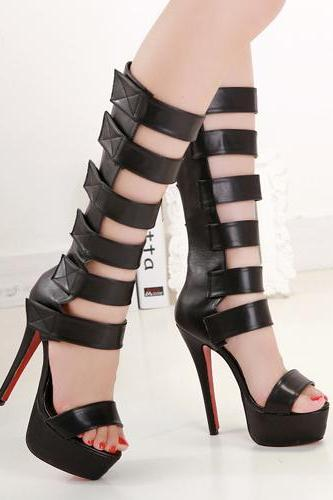 Fashion Stiletto High Heel Gladiator Black PU Sandals