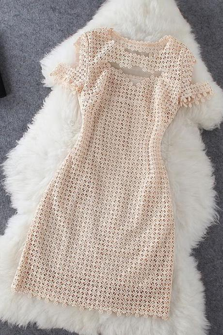 Stylish Stitching Lace Crochet Dress J707EH