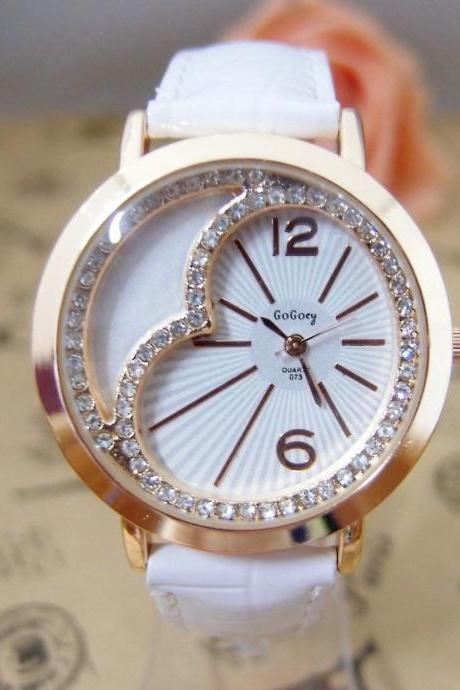 Heart rhinestones leather strap girl watch