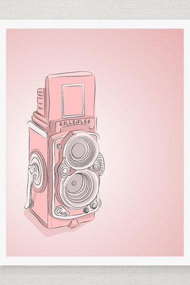 Pink Vintage Rolleiflex Camera - Illustrated Print - 5 x 7 Archival Matte