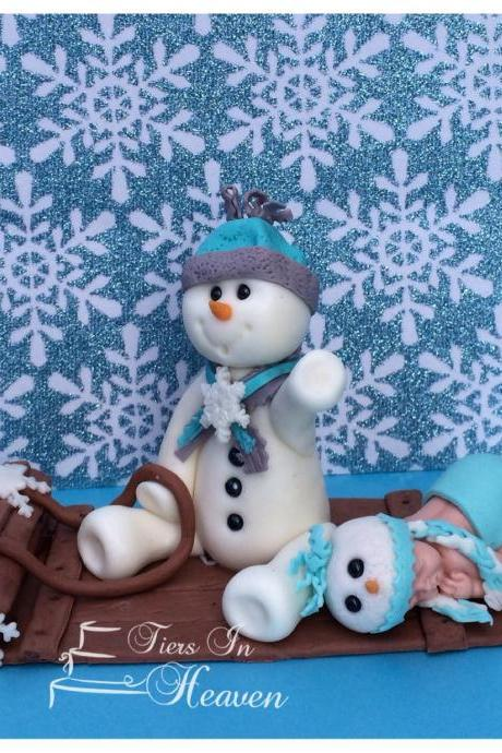 SNOWMAN WINTER CAKE TOPPER CHRISTMAS SNOWFLAKE EDIBLE FONDANT CAKE TOPPER