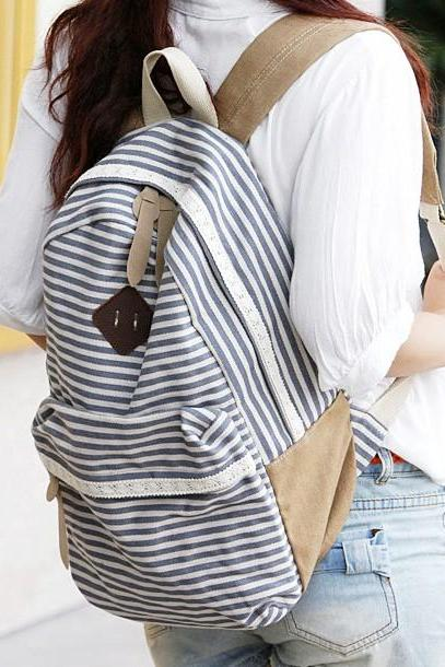 Blue Striped Backpack With Lace