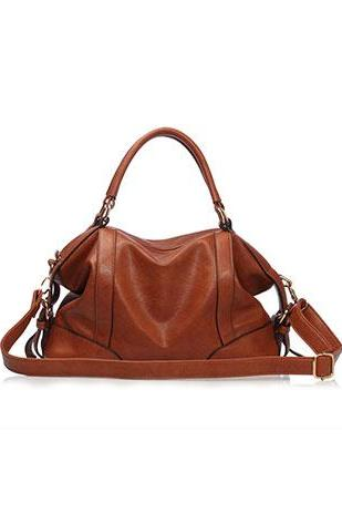 European Style Simple Pure Color Cattlehide Handbag Shoulder Bag