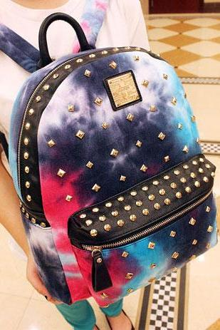 Punk Style Cool Gradient Color Rivet Denim Backpack