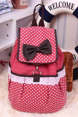Sweet Dot Bow Lace Canvas Backpack-pink