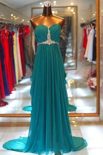 Elegant Sweetheart A-line Floor Length Chiffon Sweep Train Prom Dress with Beadings, Long Prom Dresses, Prom Dresses 2015