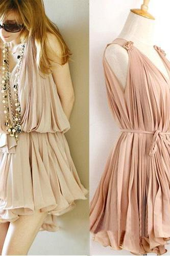 Sweet Elegant Pink Pleated Chiffon Dress--Pink