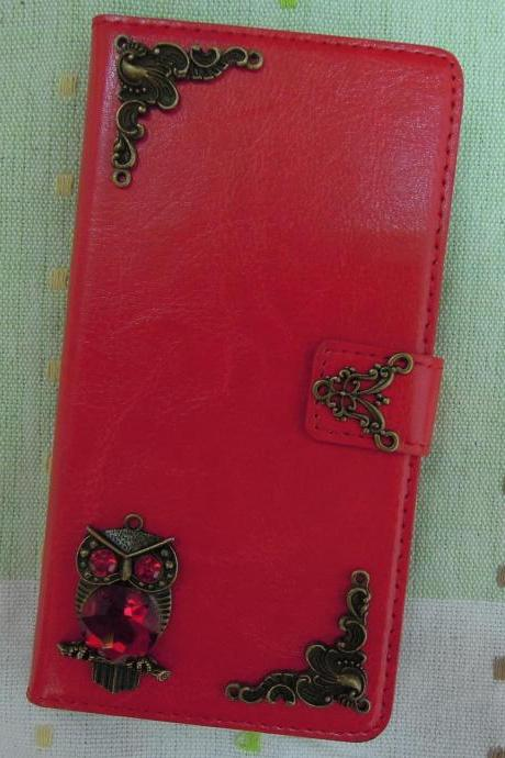 Samsung Galaxy Note 4 Wallet Case-OWL/Plants studded Red Galaxy Note 4 Wallet Case