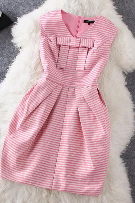 Fashion Bow Striped Dress GH804CB