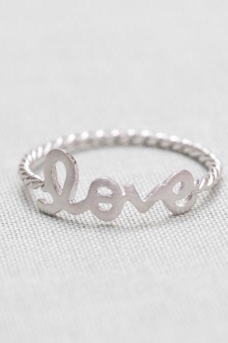 LOVE word ring in silver