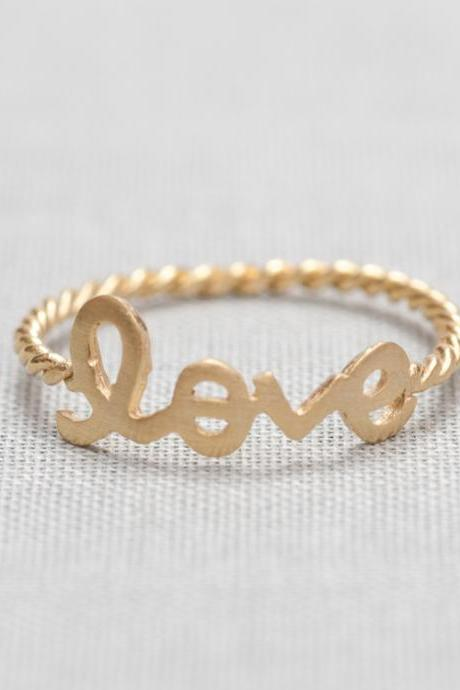 LOVE word ring in gold