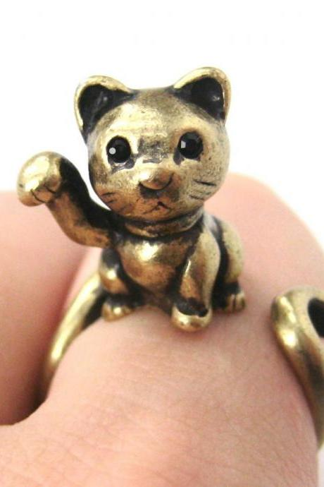 Realistic Fortune Kitty Cat Animal Wrap Ring In Brass - Sizes 4 To 9 Available