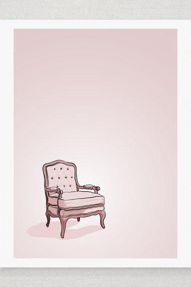 Pink Vintage Chair - Illustrated Print - 5 x 7 Archival Matte