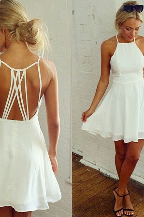 Strappy backed white dress