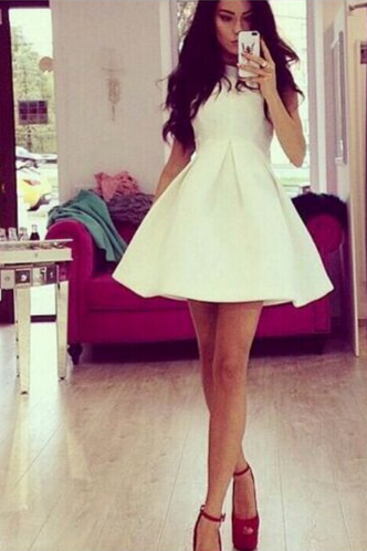Solid White Sleeveless Dress
