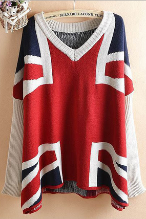 Europe and the United States women's British flag Jack loose Bat Sleeve Sweater Dress