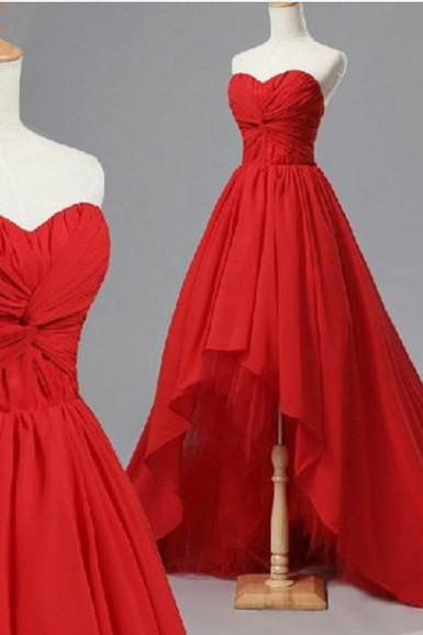 Handmade High Low Red Sweetheart Chiffon Prom Dresses 2017, Red Prom Dresses 2017, High Low Prom Dresses, Custom Prom Dresses