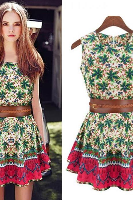 Women's Sleeveless Print Floral Waist Chiffon Mini Party Dress