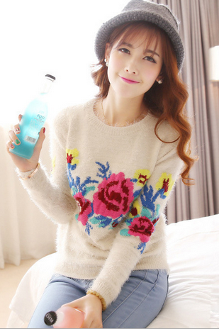 Autumn and Winter Retro Rose Floral Flower Printed Sweater